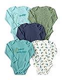 WINK & BLINk Dino Explorer Organic Baby Bodysuits, 5-Pack Long-Sleeve Onesies, 100% Organic Cotton (Dino Explorer,18M)