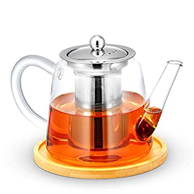 Glass Teapot Kettle with Removable Stainless Steel Infuser for Loose Leaf Tea, Perfect Matching Wooden Coaster, Microwave and Stovetop Safe, 900ml/30oz
