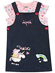 Kids Peppa Pig Pinafore Set This adorable Peppa Pig outfit comes with a cute pinnie featuring a print of Peppa and her unicorn, as well as a unicorn and an embroidered rainbow It also comes with a pink tee showcasing a pretty motif of Peppa, her Unic...