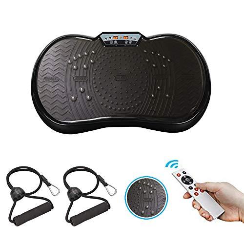 GoFun Vibrationsplatte - Powerplate Trainingsgerät fü Ganzkörper-Workout Vibrationstrainer für zu Hause mit 2 Expandern und Fernbedingung-200W, Vibrationsplatte (Schwarz/Schwarz)