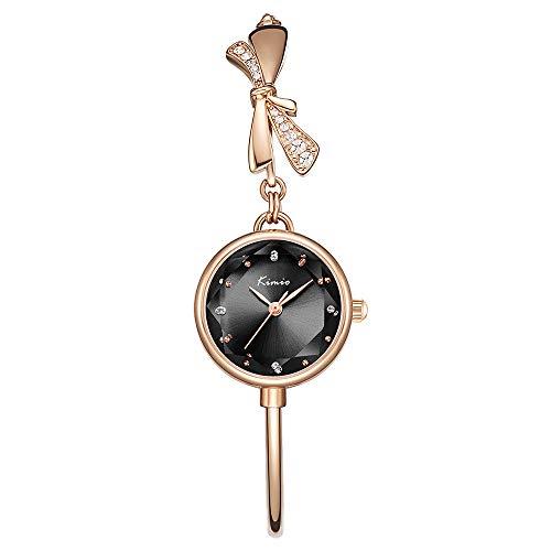 Kimio K6435 Damen Uhren Wasserdicht Silm Minimalistisch Armband Elegant Beiläufig Quarzuhr für Damen (Gold-Black)