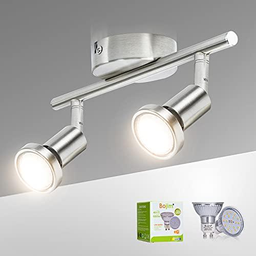 Bojim Lámpara de Techo LED 2 Focos, Focos LED Interior Techo Giratorios y Orientables, para la Cocina, el Dormitorio y el Salón, Incluye 2 Bombillas LED GU10 (6W, 600lm, 2800K Blanco Cálido)!