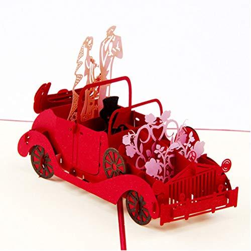 Grußkarten, Einladungsumschläge 3D Pop Up Karte Handgemachte Romantik Karte Heiraten Wünsche, Jahrestag mit Umschlag für Glückwünsche an Braut Bräutigam Paare (Hochzeitsauto) SPDYCESS
