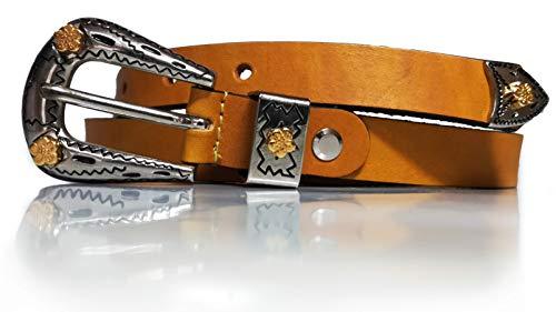 almela Cinturón mujer Cowboy. Hebilla moda vintage. Piel legitima. Cuero. (Amarillo, 80)