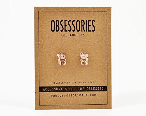 Handmade Lucky Cat Stud Earrings