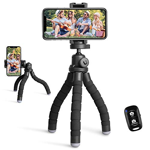 UBeesize Phone Tripod, Portable and Flexible Tripod with Wireless Remote and Universal Clip, Compatible with All Cell Phones/ Cameras, Cell Phone Tripod Stand for Video Recording (Black)
