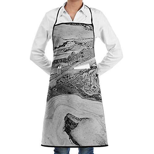 Pag Crane Kitchen Chef Delantal con Peto Mármol Textura Cuello Cintura Corbata Bolsillo Central Impermeable APN-178