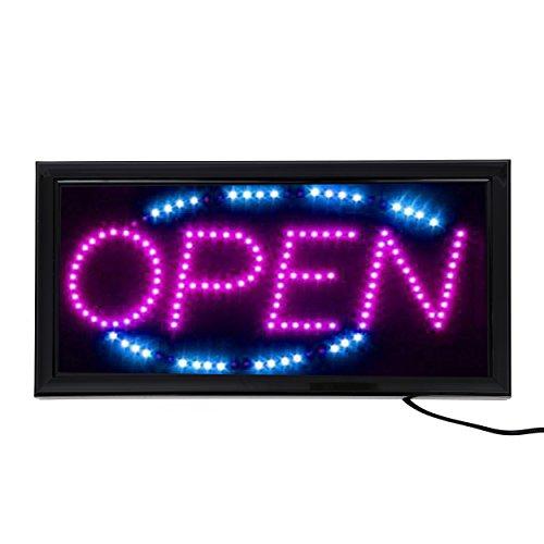 LED Leucht-Schild OPEN Leuchtreklame geöffnet/open - Werbung, annimierte Reklame, Stopper, Neon Pink/Lila