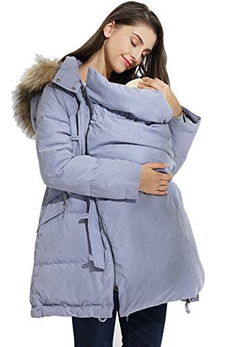 Sweet Mommy Maternity Pregnancy Baby Carrier Babywearing Warm Down Coat Removable Panel, Light Blue, M