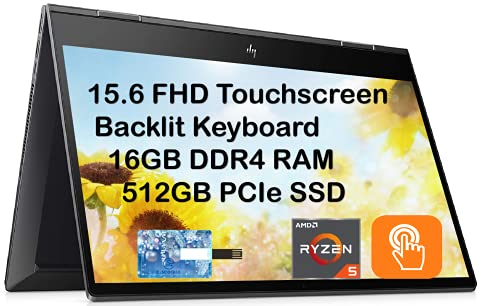 """Newest HP Envy x360 2 in 1, 15.6"""" FHD Touchscreen business laptop, AMD Ryzen 5 4500U 6 cores (up to 4GHz Beat i7-7500U), 16GB RAM, 512GB PCIe SSD, Backlit-KB, FP Reader, Win10H, with E.S 32GB USB Card"""