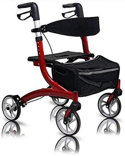 JFZCBXD Aluminium Transport Rollator Walker mit Sitz und Räder Höhenverstellbare Rollen Walker für Senioren ältere Behinderte, 280 Lbs Unterstützung