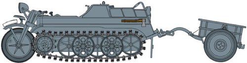 1/35 WW.II German Sd.Kfz.2 Ketten network Lert Early Production w / Comfort Inn Infantry cart (japan import)