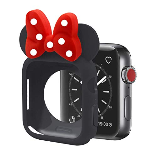 Tech Express Black 3D Mouse Ears Cartoon Character Case Red & White Polka Dot Bow Corner & Edge for Apple Watch [iWatch] Series 4, 5 Cartoon Colorful Cover Accessories (44mm)