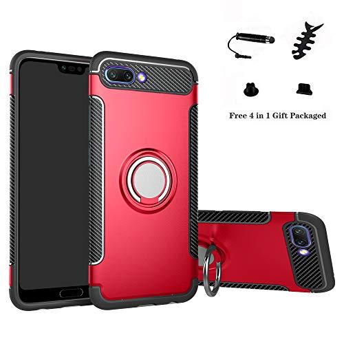 Labanema Honor 10 Funda, 360 Rotating Ring Grip Stand Holder Capa TPU + PC Shockproof Anti-rasguños teléfono Caso protección Cáscara Cover para Huawei Honor 10 - Rojo