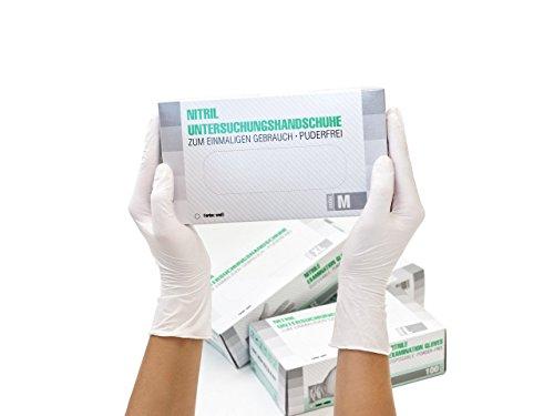 Nitrilhandschuhe 100 Stück Box (M, Weiß) Einweghandschuhe, Einmalhandschuhe, Untersuchungshandschuhe, Nitril Handschuhe, puderfrei, ohne Latex, unsteril, latexfrei, disposible gloves, white, Medium