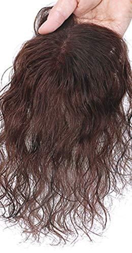 Topjin pour femme 16,5 cm fait à la main à clips en cheveux bouclés Cheveux humains Top Extensions de cheveux postiches