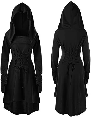Forthery Women Renaissance Costumes Hooded Robe Lace Up Vintage Pullover Hoodie Dress Cloak product image