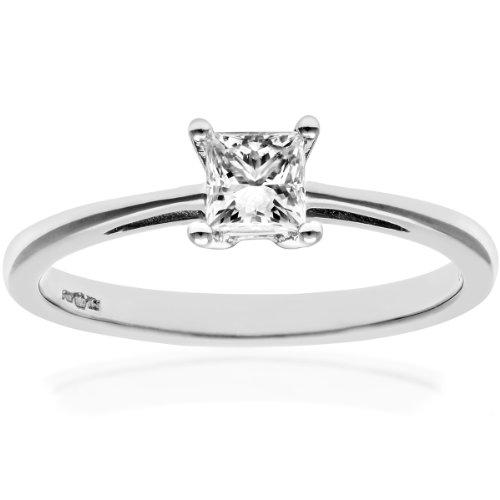 Naava - Anillo para Mujer de Oro Blanco 18K con Diamante 0.33 ct Talla 12