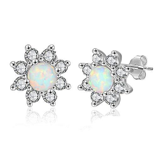 Ópalo redondo octogonal especial S925 con pendientes de tremella de diamantes puros