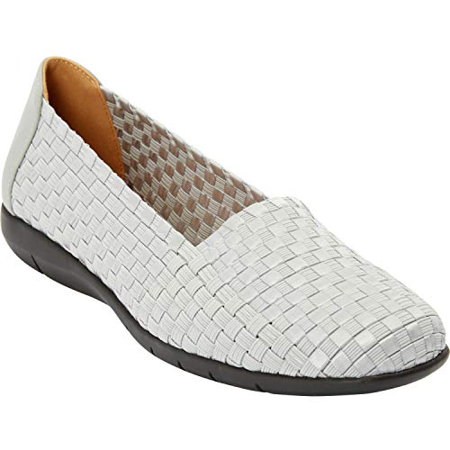 Comfortview Women's Wide Width The Bethany Flat Comfortable Woven Stretch Shoe Shoes - 10 1/2WW, Grey