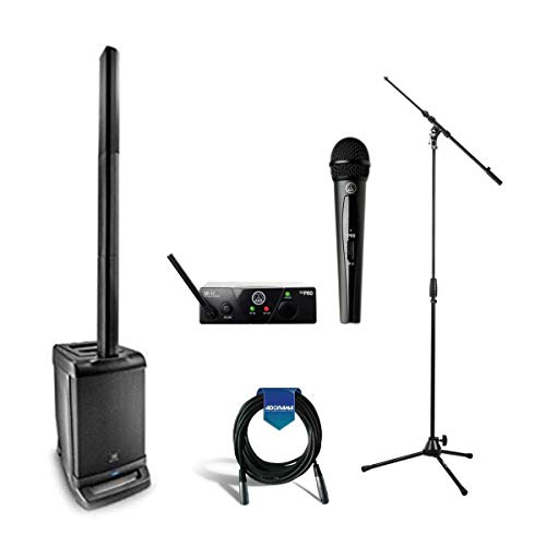 JBL EON ONE All-In-One Linear Array P.A. System, Includes EON ONE Base and Column Speaker Array - AKG Acoustics WMS40 Mini Single Vocal Set Wireless Microphone Kit - Mic Stand - XLR Cable