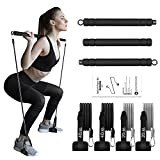 Pilates Bar with Adjutable Resistance Bands, WeluvFit Portable Exercise Fitness Equipment for Women & Men, Home Gym Workout 3-Section Stick Squat Yoga Pilates Flexbands Kit for Full Body Shaping