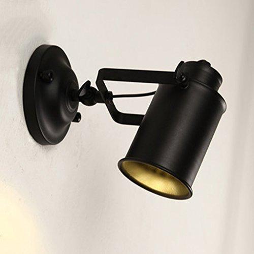 ZWL Retro Industrial Wind Lamp Designer Simple Bar Balcon Couloir Lumières Creative Iron Lecture Mur Lumière mode ( Couleur : Noir )