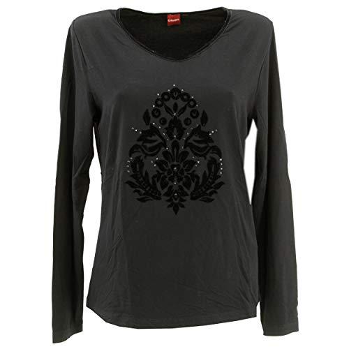 Olsen, Akulina, Damen Top Shirt T-Shirt Bluse Longseve 3/4 arm, Stretchjersey, schwarz, 38 [22159]