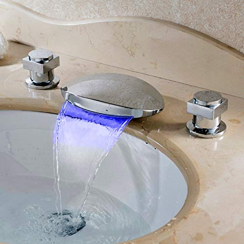 BFTAPS Grifo Mezclador para Lavabo LED Cascada Square Flat Cromo Latón de Baño Grifo Monomando Agua Fría y Caliente con 3 Colores Cambio de Control de Temperatura,ChromeFaucet