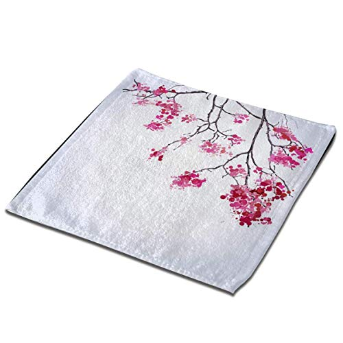 Juego de toallas de baño 1 paquete para baño, hotel, spa, cocina, toallas multiusos con punta de dedos y paños faciales, 33 x 33 cm, flores de cerezo