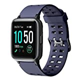 YAMAY Smart Watch for Android and iOS Phone IP68 Waterproof, Fitness Tracker Watch with Heart Rate Monitor Step Sleep Tracker, Smartwatch Compatible with iPhone Samsung, Watch for Men Women Blue