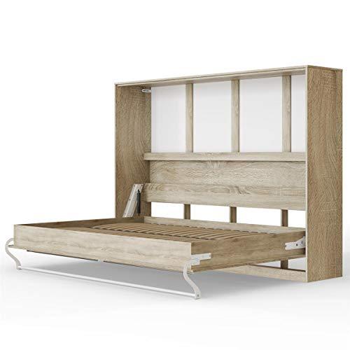 SMARTBett Standard 140x200 Horizontal Eiche Sonoma Schrankbett | ausklappbares Wandbett, ideal geeignet als Wandklappbett fürs Gästezimmer, Büro, Wohnzimmer, Schlafzimmer