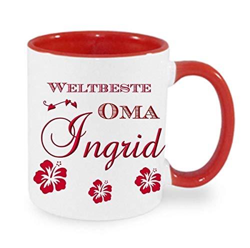 Kaffeebecher + WELTBESTE OMA + Tasse mit Namen Namentasse personalisiert nach Wunsch super Weihnachtsgeschenk, Geburtstag auch Opa, Papa oder Mama als Aufdruck möglich. Auswahl Text