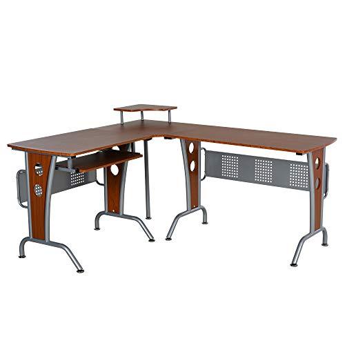 HOMCOM - Escritorio esquinero en forma de L con marco de acero, bandeja para teclado, ahorro de espacio con revestimiento de melamina para ordenador en el hogar marrón