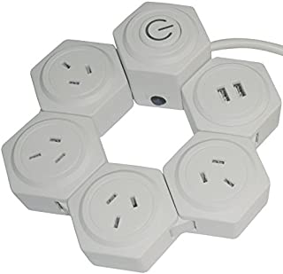 GOLINX Swivel Power Board with 4 Power Outlets and 2 x USB Outlets (2.1A). White colour. Large Foot Switch for easy operation. SAA Approved for use in Australia and New Zealand.
