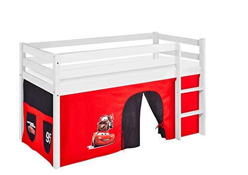 Lilokids Spielbett Jelle Disney Cars, Hochbett mit Vorhang Kinderbett, Holz, weiß, 198 x 98 x 113 cm