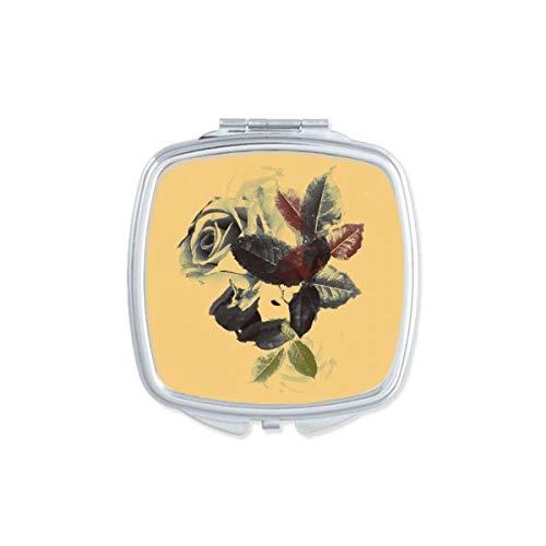 DIYthinker Couleur de l'eau des Plantes Feuilles Fleur Rose Miroir carré Maquillage Compact Portable Mignon Miroirs de Poche à la Main Cadeau Multicolore