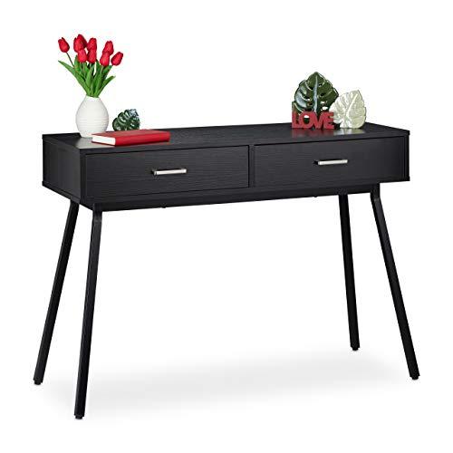 relaxdays Tavolo Console da Ingresso, Mobile da Corridoio 2 Cassetti Tavolino Stretto Salotto Design Moderno, Nero, Metallo, Truciolato, 1 pz