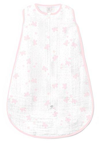 SwaddleDesigns Cotton Muslin Sleeping Sack, Pastel Pink Butterflies,...