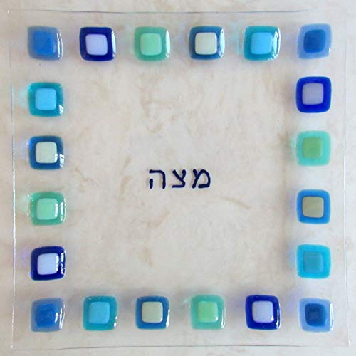 Fused Glass Passover Plate Glass Maztah Plate Passover Gift Judaic Glass Plate Jewish Wedding Glass Gift Modern Jewish Home Decor