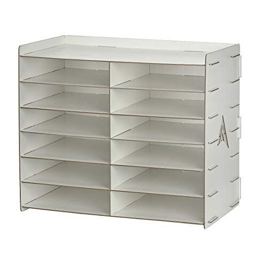 AdirOffice Wood Paper Storage Organizer - Construction Paper Storage - Vertical File Mail Sorter - A Stylish Look for Home, Office, Classroom and More - White (12 Compartment)