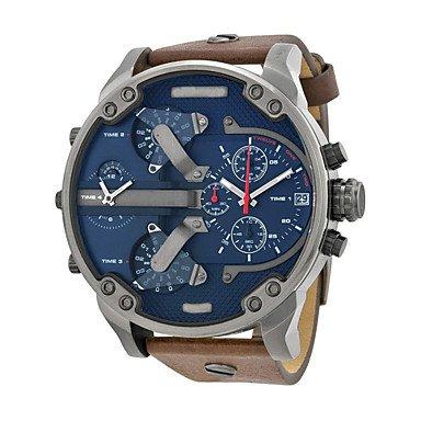Fenkoo, orologio da uomo in stile militare, orologio da polso al quarzo, orologio da polso per l'uso quotidiano, cinturino in pelle marrone., marrone