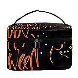 Bolsa de maquillaje de viaje para galletas de murciélago de Halloween, bolsa de maquillaje grande, organizador con cremallera, para mujeres y niñas