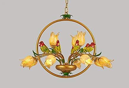 Lustre elegante de estilo floral con 12luces art décor en pájaros Metal suspensión clásica forma de flores tulipa de cristal mano de dormitorio boutique blanco cálido 78* 50cm G9* 12