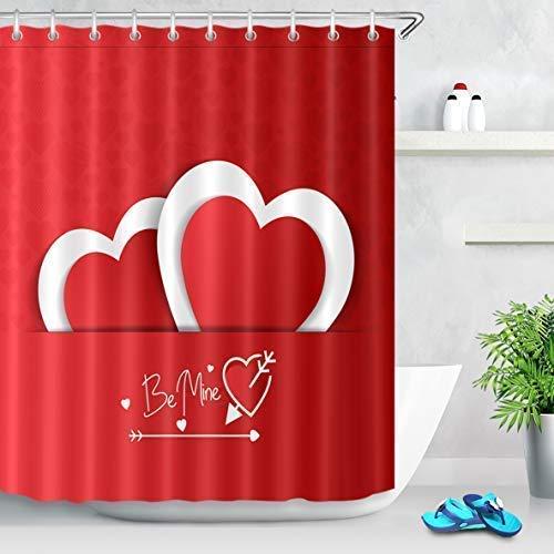 MMPTn Happy Valentinstag Pfeil Duschvorhang mit Brief Taschen Laden Zwei Herzen von einander Liebesthema Duschvorhang 71x71inch Polyester einschließlich zwölf Kunststoffhaken