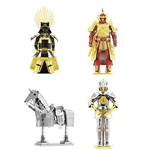 Fascinations Metal Earth 3D Metal Model Kits Armor Set von 4 – European Knight – Pferd – Japanisches Toyotomi – Chinese Ming