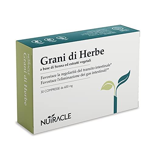 NUTRACLE - Granos de Herbe 30 Tabletas de 600 mg | Contra el Estreñimiento, Promueve el Tránsito Intestinal Regular | Ayuda a la Digestión | A base de Sena, Aloe, Ruibarbo, Fresa, Ciruela