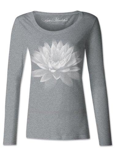 Super Buddha Women's 'Lotus Flower - Om Shanti' Long Sleeve Triblend Scoopneck, Heather Gray, Medium