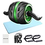 Ab Roller Wheel, 4-in-1 Ab Roller Kit with Knee Pad, Push-Up Bar, Jump Rope for Abdominal Exercise...