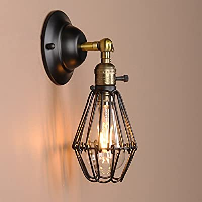 Permo Vintage Retro Antique Opening and Closing Dark Black Wire Cage Wall Light Lamp Sconce